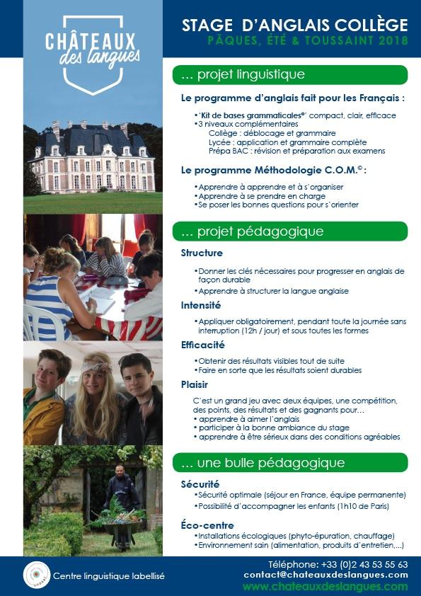 Châteaux des langues - Brochure stage collège